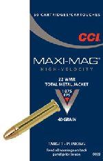 Cartucce - marca CCI - modello 0023 22 WMR FMJ Maxi Mag - calibro 22MAG