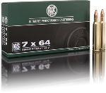 Cartucce - marca RWS - modello 11756 KS 8.0g KEGELSPITZE 123gr - calibro 7x64